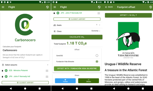 App que permite calcular y compensar la huella de carbono de tus vuelos.